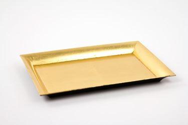 Immagine di Piatto rettangolare di plastica color oro 25x35xh.1.8