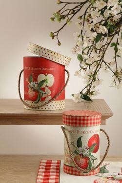 Immagine di S/2 scatole tonde in cartone rosse/bianche APPLE con manico in corda