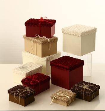 Immagine di S/2 scatole Roses quadrate,bordeaux, riv.tessuto,24x24xH24;22x22xH22cm.