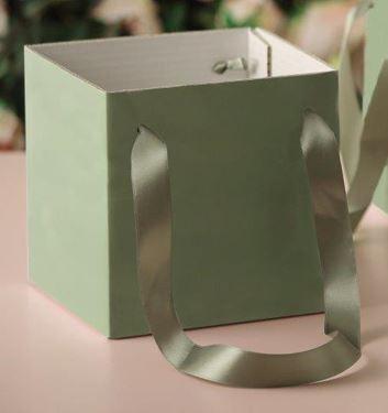 Immagine di Cubo box cartone 15x15 verde chiaro, steso, nastro a parte