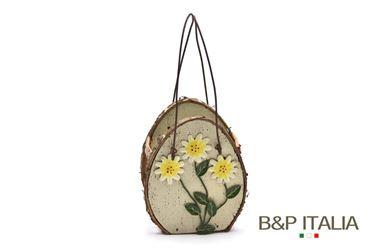 Immagine di Contenitore 3 fiori in legno con manici  cm8.5x6xh.10.5 marrone/giallo