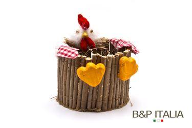 Immagine di Cestino gallo legno e paglia diam.14.5xh.11.5cm, bianco/rosso