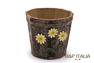 Immagine di Contenitore 3 fiori legno e corteccia tondo diam15.5xh13, nylon interno