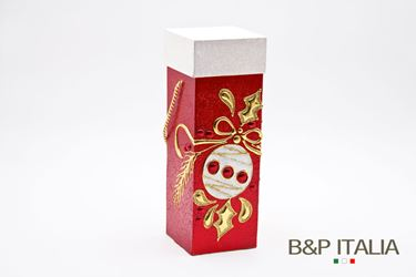 Immagine di Scatola quadrata portabottiglia  natalizia bordeaux/bianca 4.5xh.12
