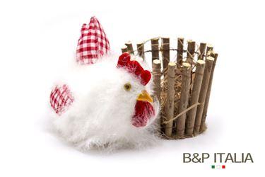 Immagine di Cestino legno e paglia gallo diam.10xh.10cm,diam cesto 8.5,bianco/rosso