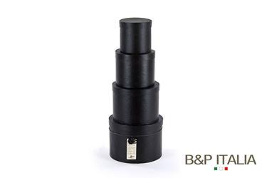 Picture of S/4 box tonde NERO c/cop,dxH int:17,5x12,5-15x11,5-12,5x10,5-10x9,5 cm