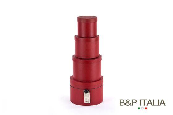 Picture of S/4 box tonde ROSSO c/cop,dxH int:17,5x12,5-15x11,5-12,5x10,5-10x9,5 cm