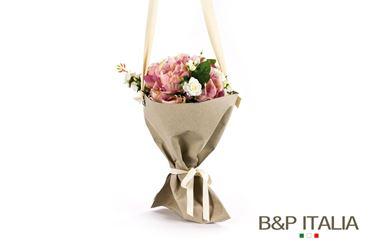 Picture of Porta bouquet, diam.cm26xh.43Cuoio grigio chiaro sp.04,c/occ