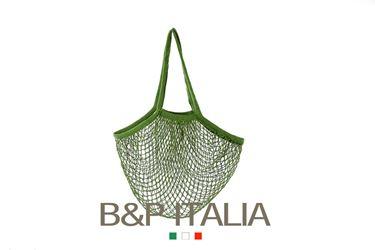 Picture of Borsa RETE, cotone organico, verde muschio, cm35x40, manico da spalla