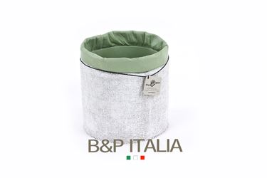 Picture of Contenitore ECO EQUO JUTA waterproof,bianco/salvia, d.15xh.15cm