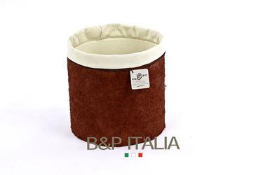 Picture of Contenitore ECO EQUO JUTA waterproof,terra di siena/crema, d.15xh.15cm