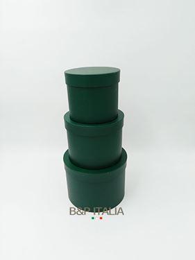 Picture of S/3 box tonde VERDE SC MATT c/cop, mis.int dxH:17x12,5-14,5x11,5-12x10,5